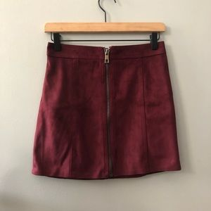 Forever 21 Faux Suede Red Zipper Mini